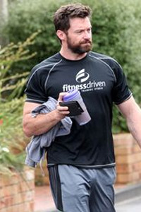 Hugh Jackman after a Pilates class