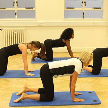 Pilates class bent over stretching their backs