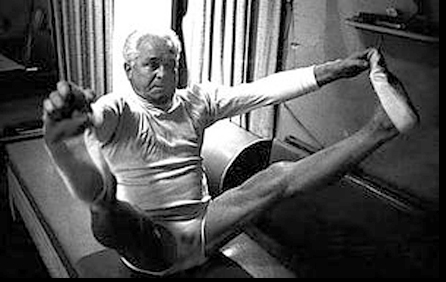 Joseph Pilates demostrating Pilates exercise.