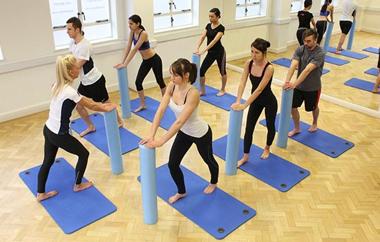 Pilates group session during a dance class.